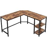 VASAGLE Computertafel, bureau, L-vormig computerbureau, hoekbureau met 2 planken, ruimtebesparend bureau in industrieel ontwerp, gaming, eenvoudige montage, vintage, houtlook, donkerbruin LWD72X