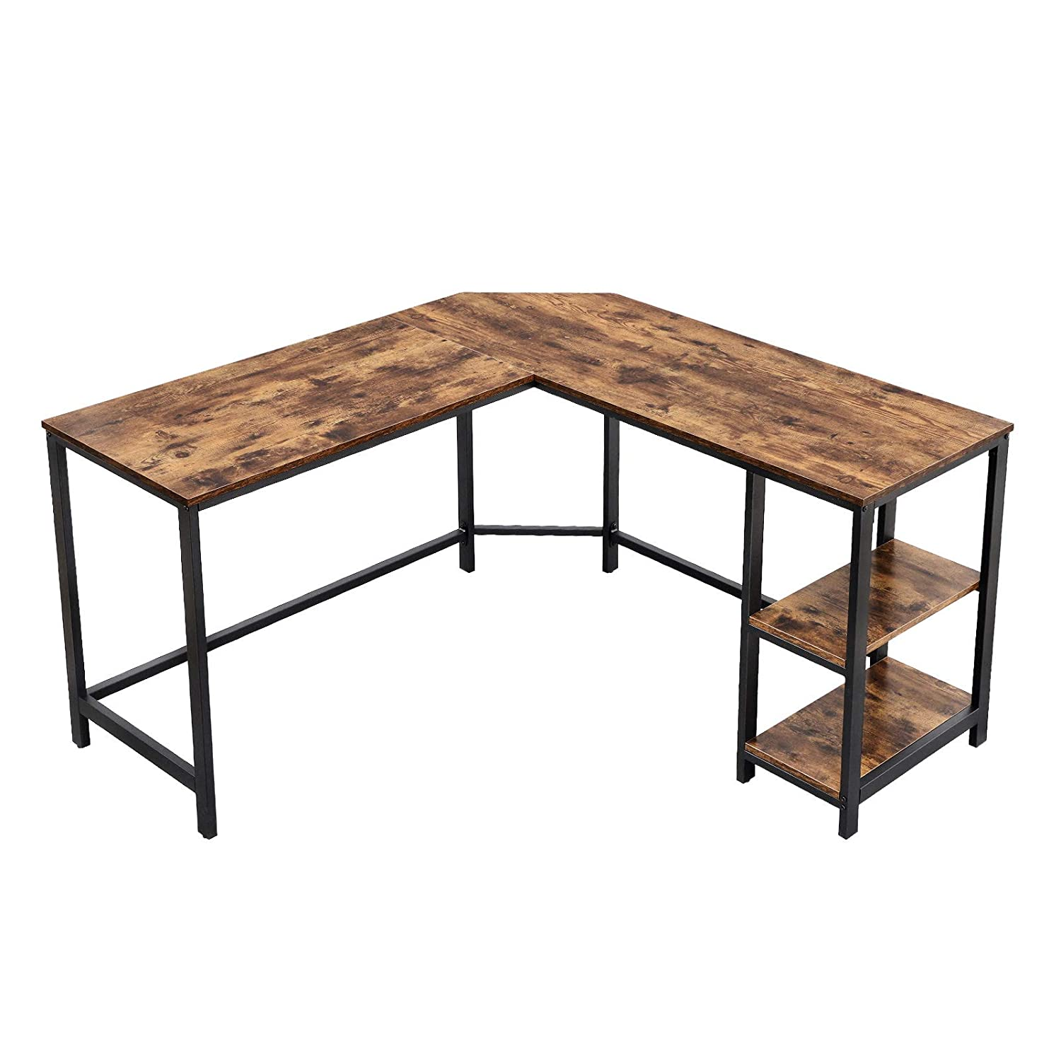 VASAGLE Computer Corner Desk, L-Shaped Writing Workstation, Gaming Desk with Shelf for Home Office, Space-Saving, Easy to Assemble, Rustic Brown