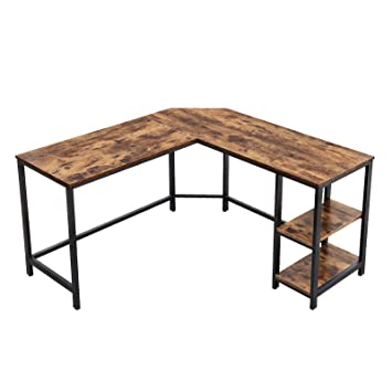 VASAGLE Industrial L-Shaped Computer Desk, Corner Desk, Office Study  Workstation with Shelves for Home Office, Space-Saving, Easy to Assemble,  Rustic ...