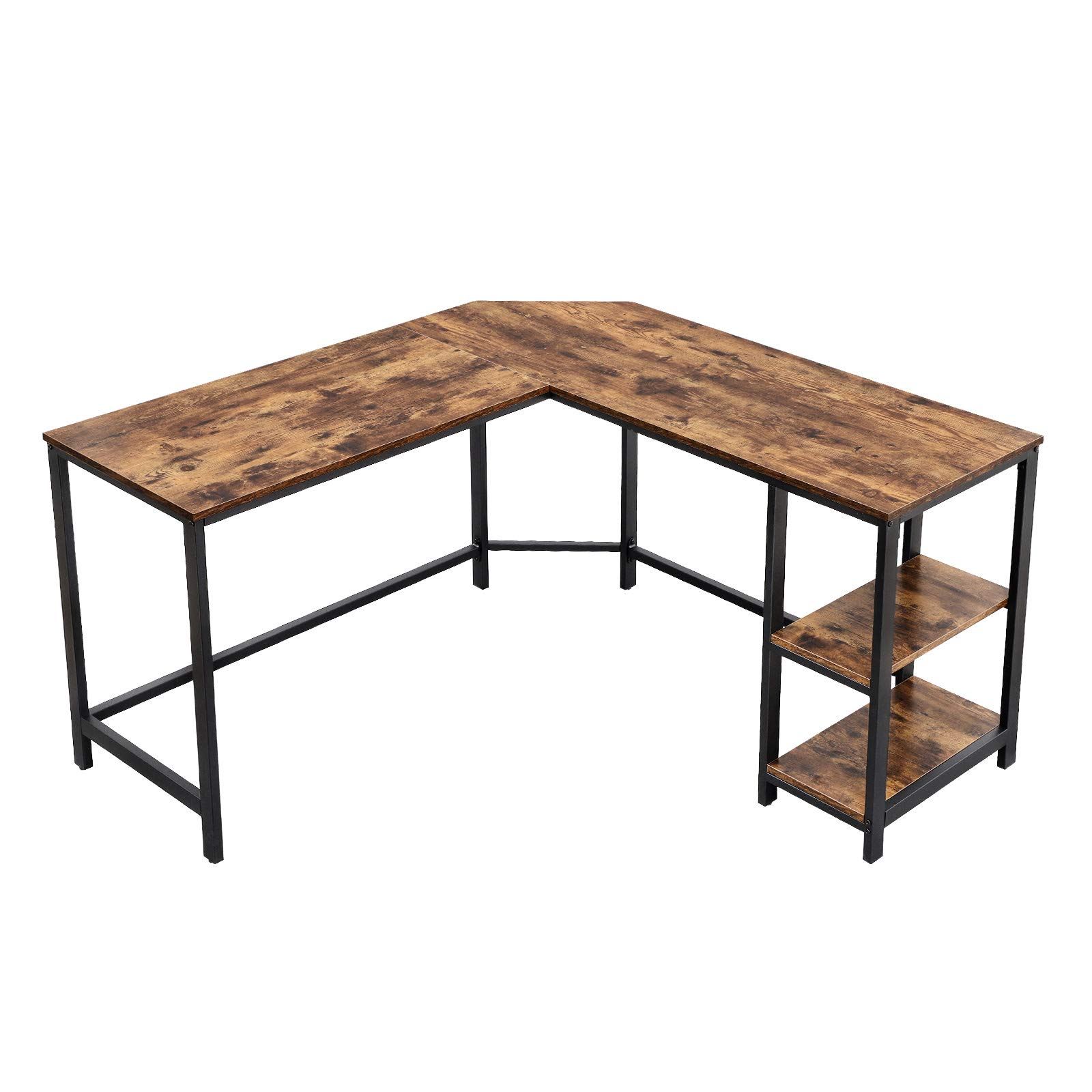 VASAGLE Computer Corner Desk, L-Shaped Writing Workstation, Gaming Desk with Shelf for Home Office, Space-Saving, Easy to Assemble, Rustic Brown ULWD72X