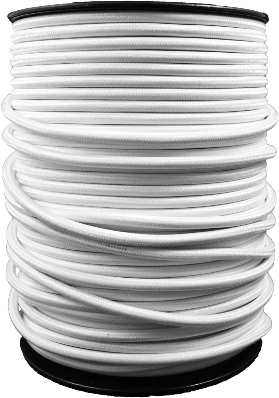 Avec 3 Broches C/âble Electrique Textile Pour Lampe Blanc/ Longueur 20 Metre - Parfait Pour Les Projets De Bricolage smartect 0,75mm/²