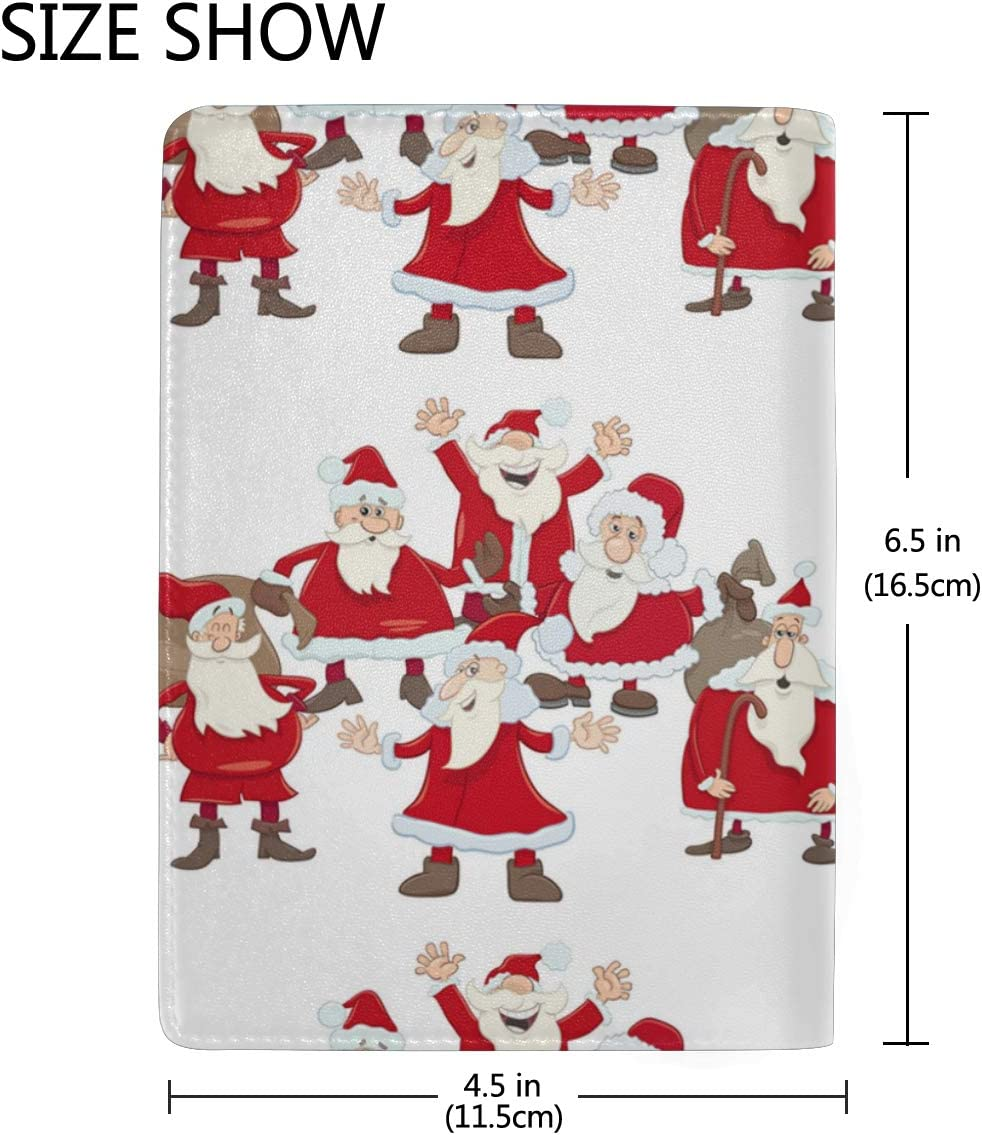 Santa Claus Happy Mold Leather Passport Holder Cover Case Blocking Travel Wallet