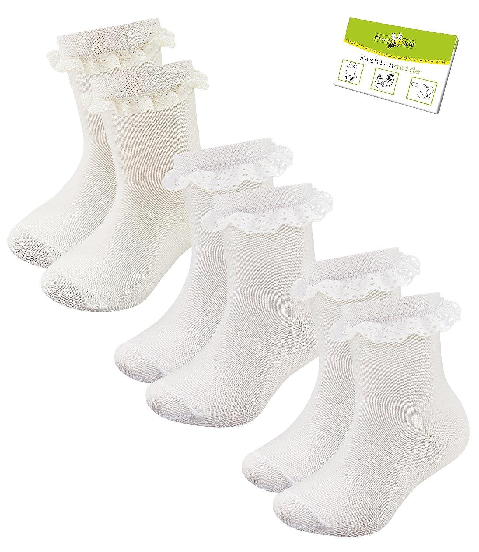 2 Ou 3 Paquet Chaussettes B/éb/é Filles Socquettes Soquettes Petit Enfant Merceris/é Coton Avec Pointe Pour EveryKid-Fashionguide Ewers 1 EW-20158-S17-BM0 incl