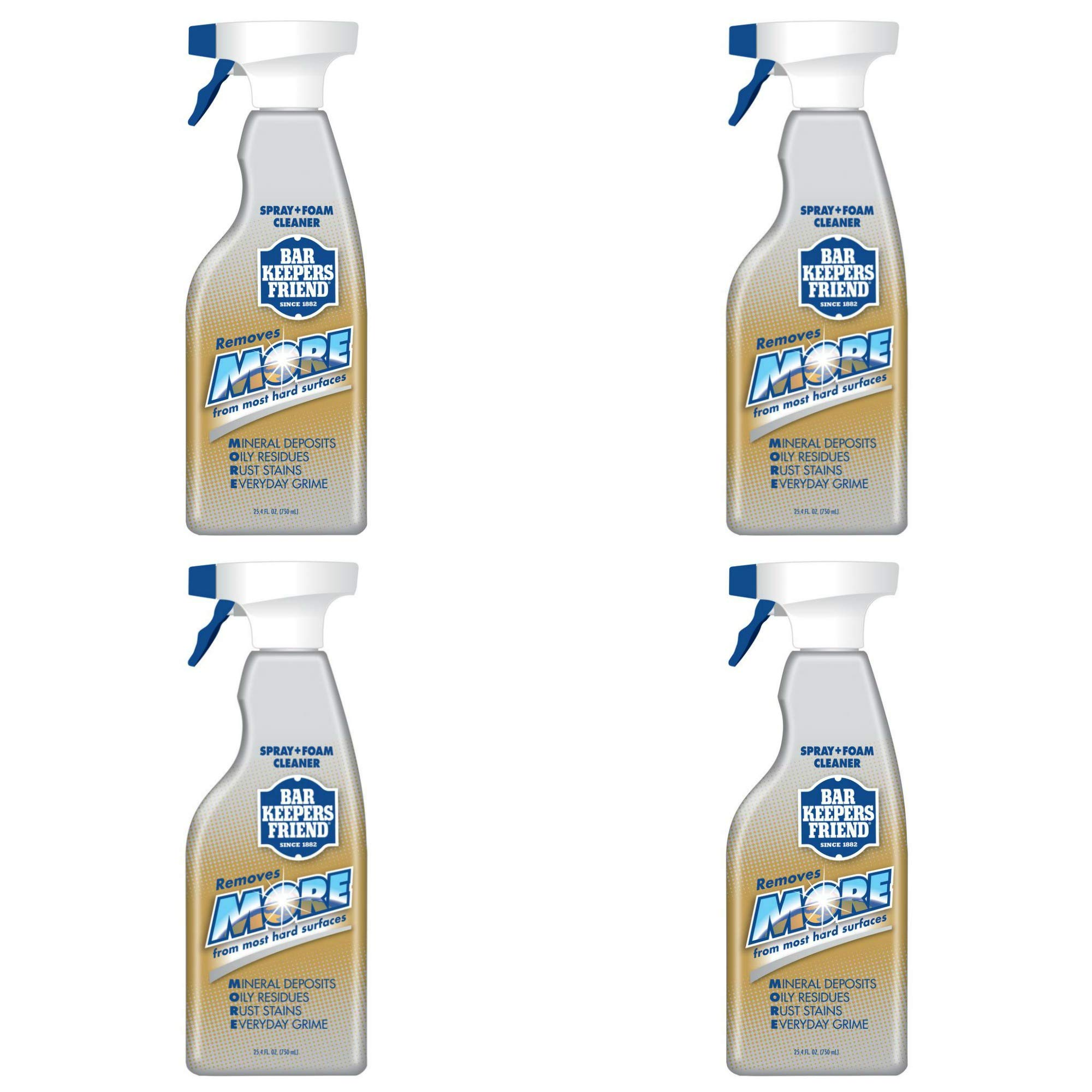 Bar Keepers Friend NEW trigger Spray + Foam Cleaner for Stainless Steel/Tile/Porcelain/Ceramic/Aluminum/Copper/Brass/Chrome/Glass, 25.4 Oz. (4-Pack)