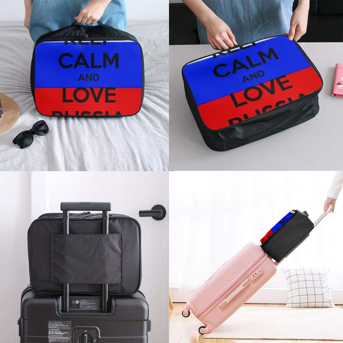 Travel Luggage Duffle Bag Lightweight Portable Handbag Keep Calm And Love Russia Large Capacity Waterproof Foldable Storage Tote