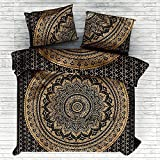 Janki Creation Indian Bohemian Mandala Full Size Doona Hippie Boho Cotton Duvet Cover Ombre Mandala Full Size Doona Mandala Hippie Bohemian Full Quilt Cover Set With Pillow ( Black and Gold)