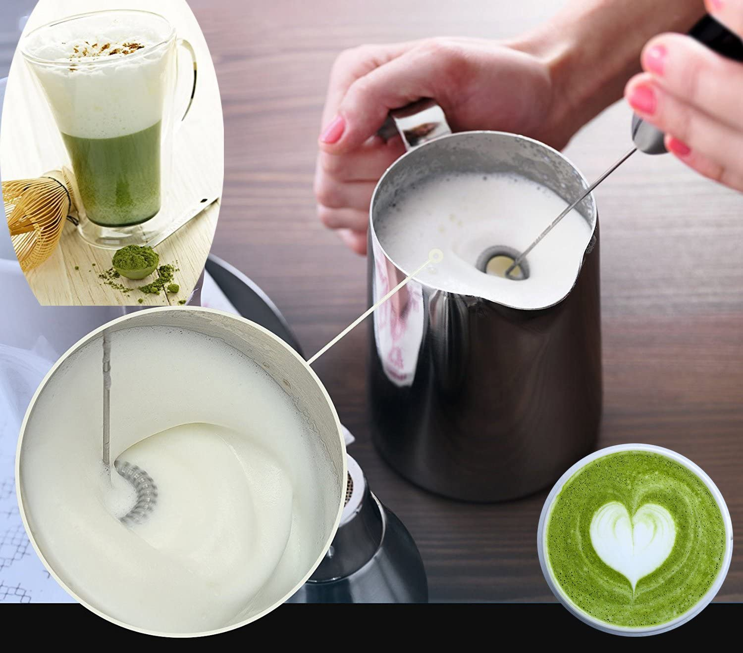 Durable Drink Mixer with 2X Stainless Steel Whisk Latte Cappuccino Hot Chocolate Milk Frother Handheld Battery Operated Electric Foam Maker for Coffee