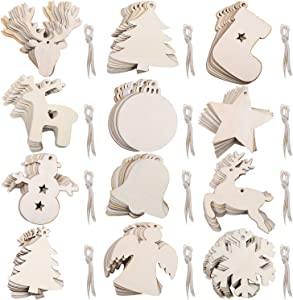 URATOT 120 Pieces Unfinished Wooden Ornaments 12 Styles Christmastree Hanging Ornaments for Christmas Home Party Decoration
