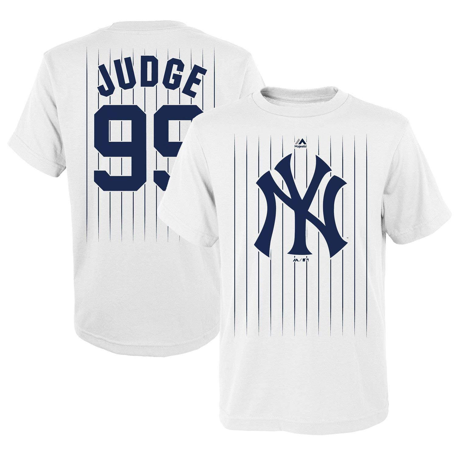 Amazon.com  OuterStuff Aaron Judge New York Yankees  99 MLB Youth Pinstripe  Player T-shirt White  Sports   Outdoors aee4b5451e6