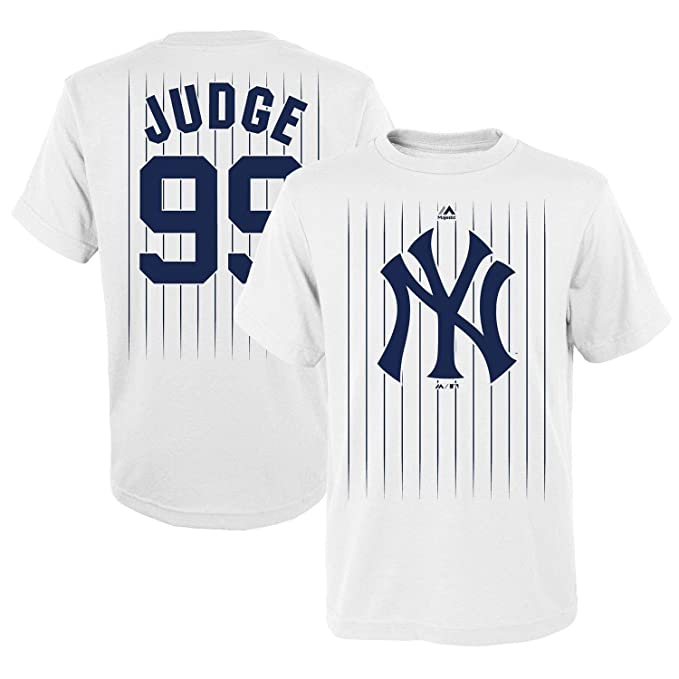 5b570df6349 Outerstuff Aaron Judge New York Yankees  99 MLB Youth Pinstripe Player  T-Shirt White