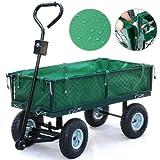 tinkertonk Heavy Large Metal Garden Outdoor Utility Hand Cart Steel Truck Trolley With Interior Cover