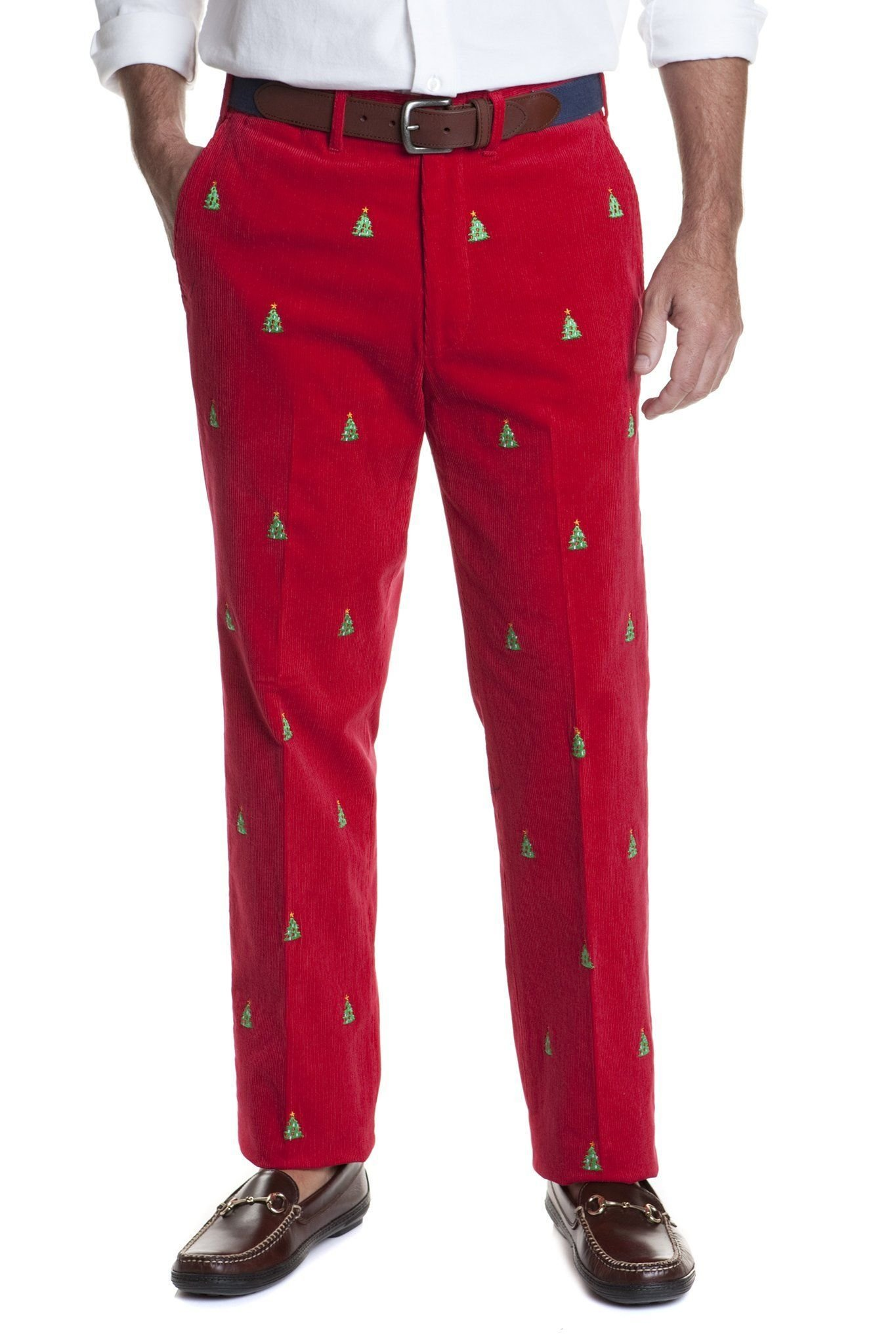 The Fine Swine Men's Castaway Embroidered Holiday Pants 38 Crimson Red with Christmas Trees