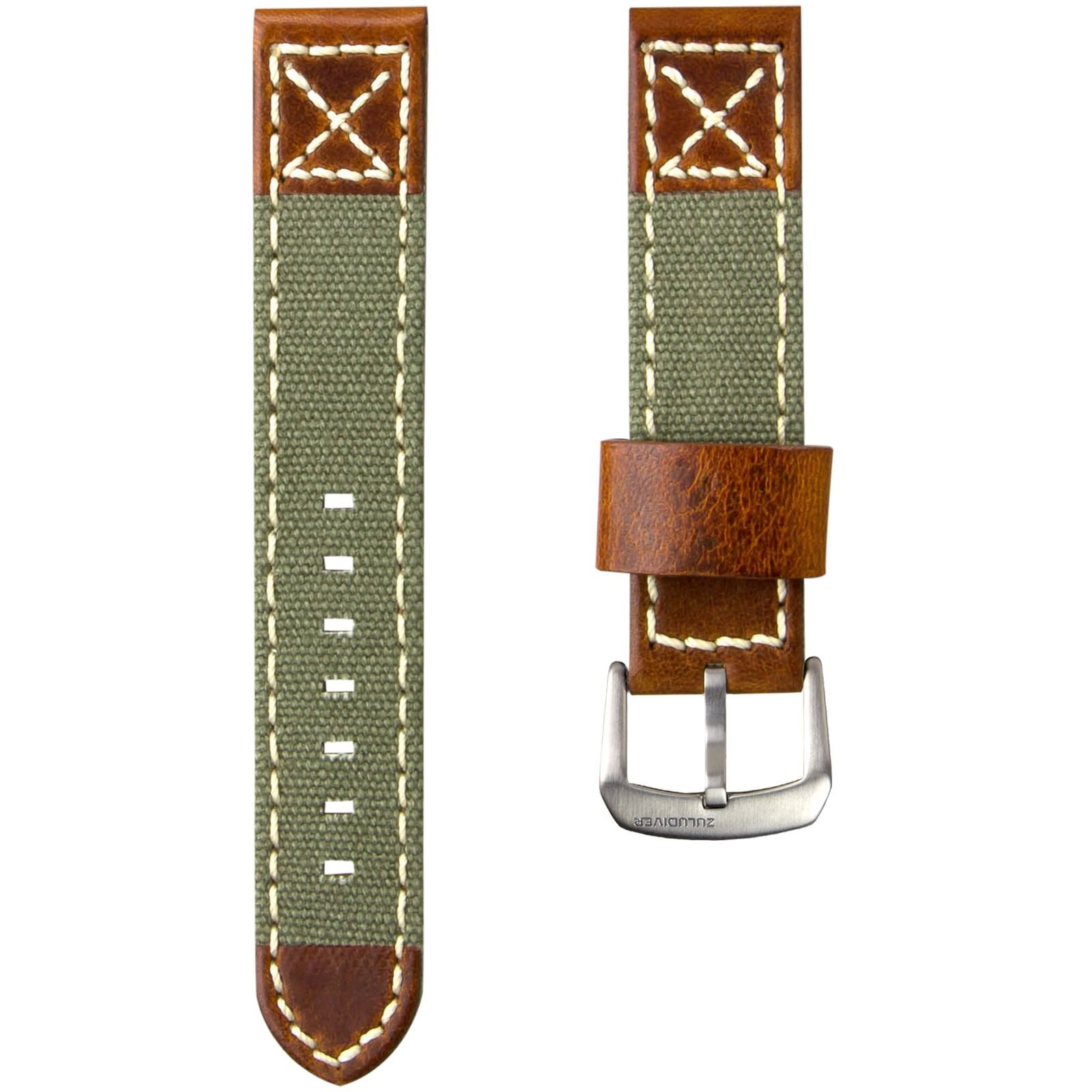 ZULUDIVER Canvas & Italian Leather Watch Strap, Army Green & Vintage Brown, 20mm