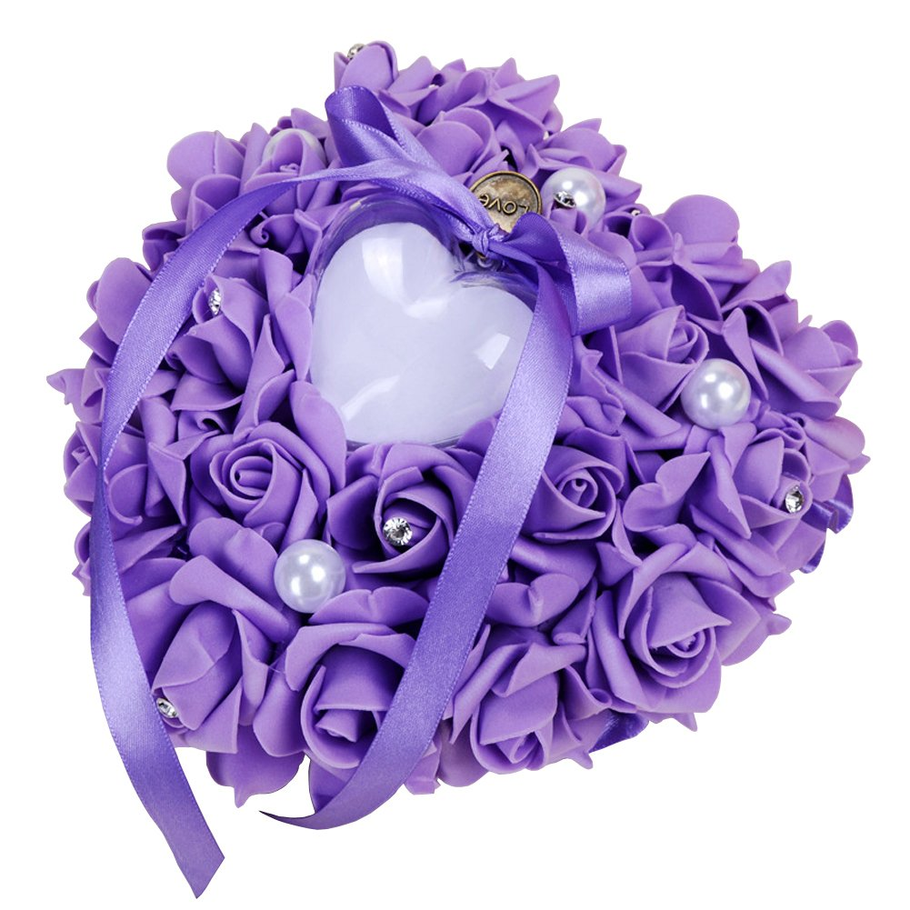 ZYLLGF Wedding Heart Ring Box Ring Holder with Pearl Bridal Ring Bearer Pillow Party Favor (Purple) by ZYLLGF