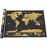 Scratch Off World Map Poster, Delaman World Travel Tracker Map Personalized Gift for Traveller