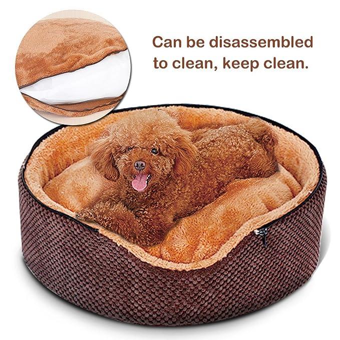 petsfansta 2-in-1 Premier lavable Mongolia Yurt redondo perro camas casa para perros de raza pequeña y gatos (marrón), se ajusta de 25 libras perros y ...