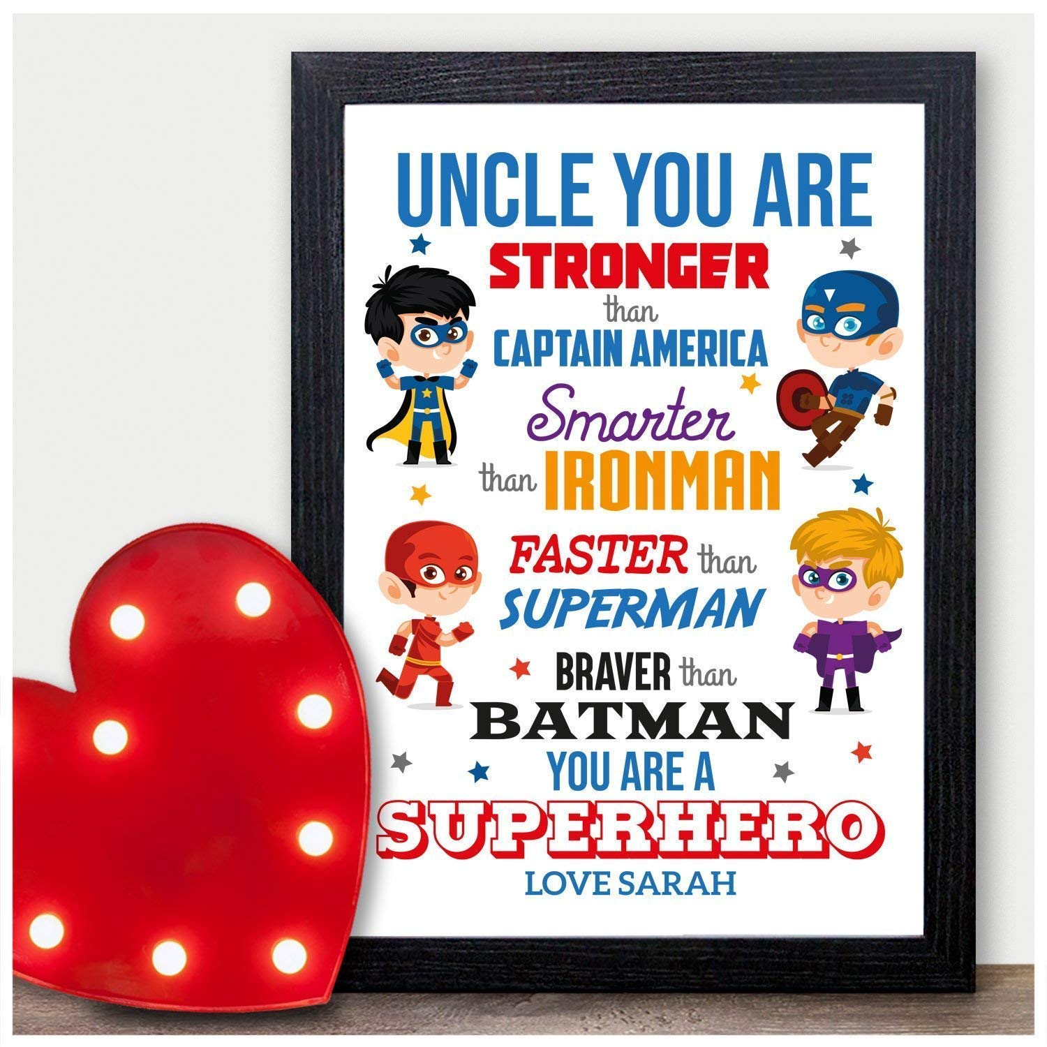 Christmas Presents For Brother.Personalised Superhero Keepsake Christmas Gifts Uncle Brother Xmas Presents Him Personalised With Any Name And Any Recipient Black Or White Framed