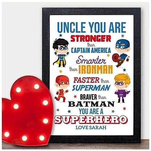 PERSONALISED Super Hero Birthday Gifts Uncle Brother Keepsake Presents From Niece Nephew