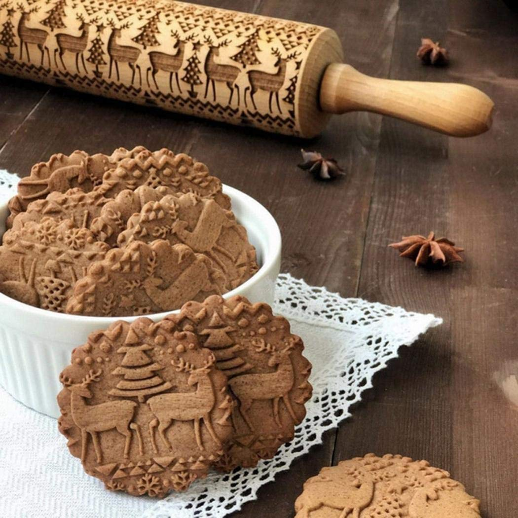 GuGio Christmas Wooden Rolling Pins, Wooden Engraved Embossing Rolling Pin with Christmas Deer Pattern for Baking Embossed Cookies,Rolling Pin Kitchen Tool for Kids and Adults to Make Cookie Dough by GuGio (Image #3)