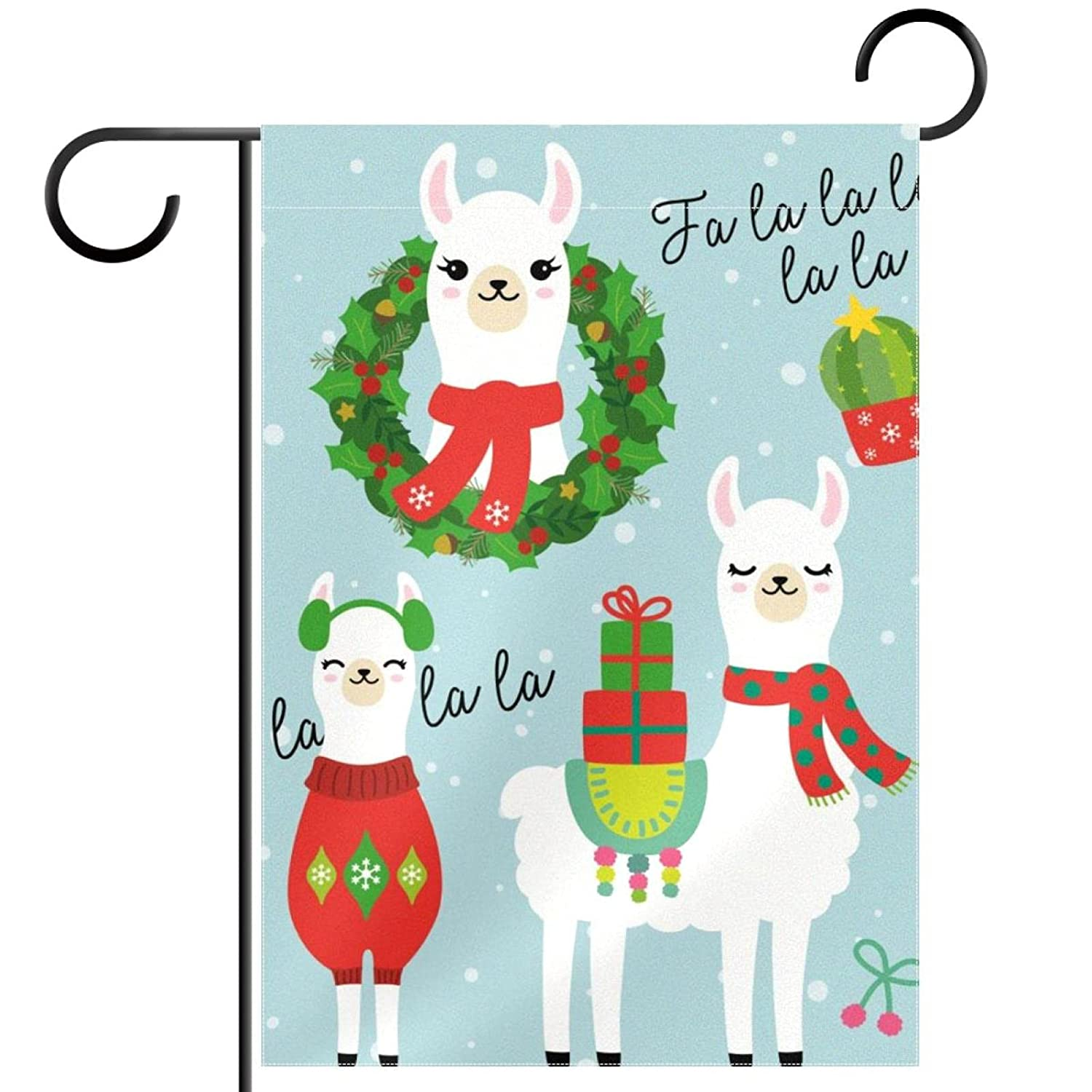 Garden Flag Christmas Cute Llama And Alpaca 12×18 Inch Double Sided Design Decorative Yard Banner Garden Flag Holiday Flag for Party Home Outdoor Decoration