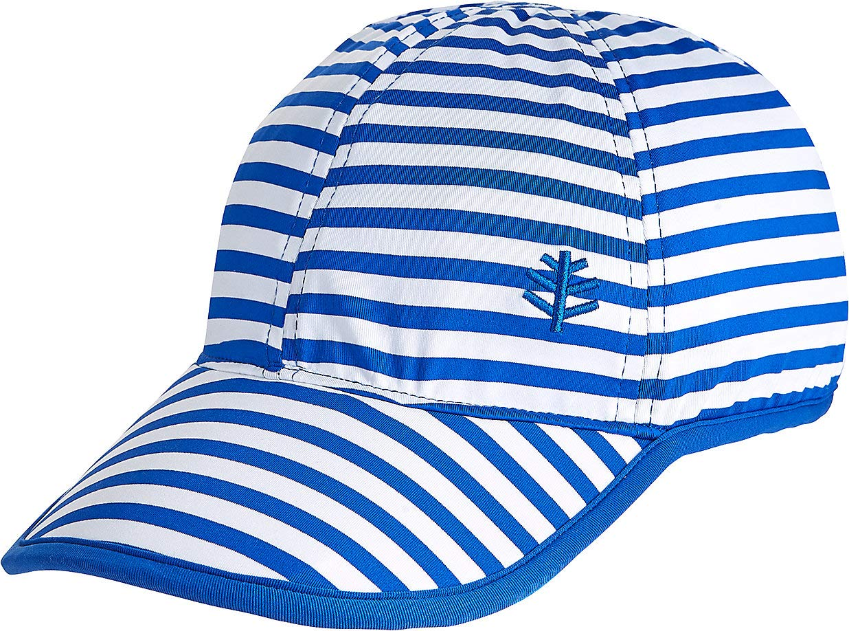 Coolibar UPF 50+ Kid's Wave Rider Sport Cap - Sun Protective (Small/Medium- Baja Blue Stripe)