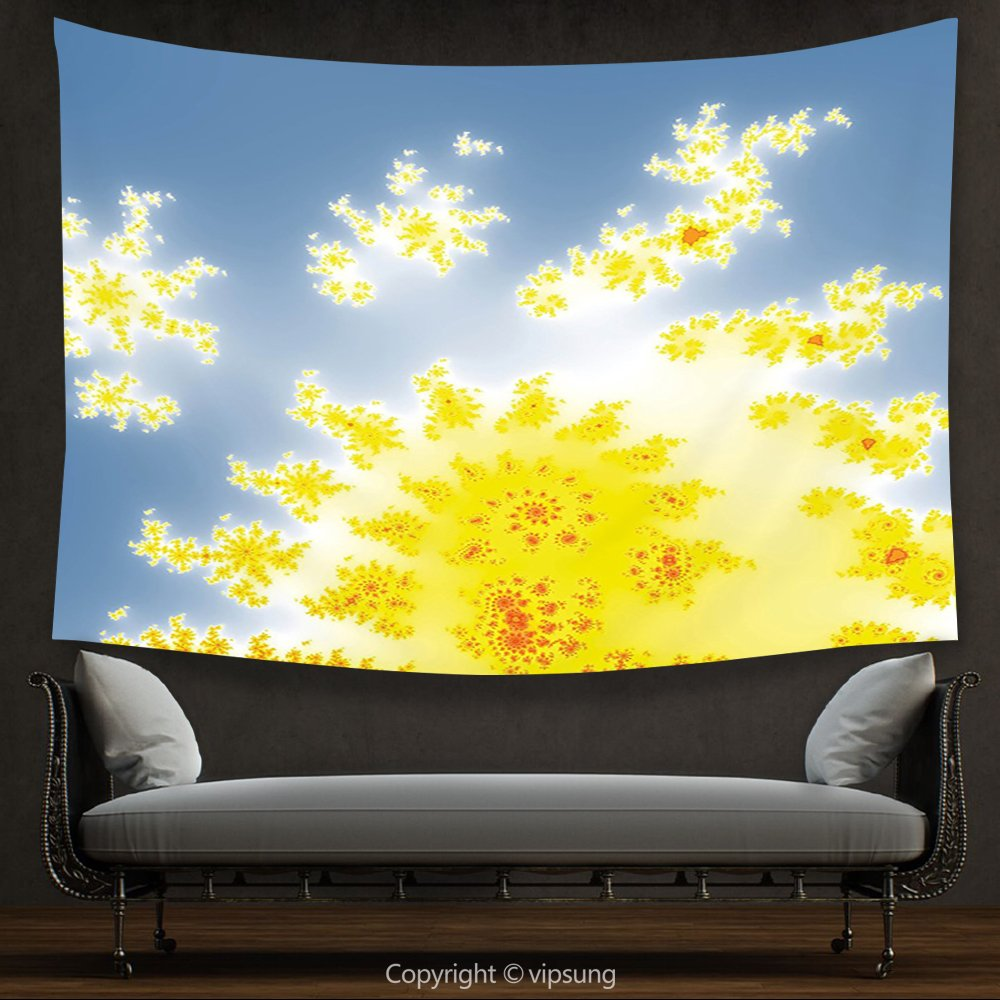 Amazon.com: House Decor Tapestry Fractal Vibrant Floral Motif with ...