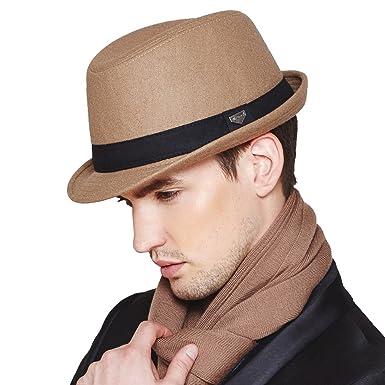 Erigaray Mens Classic Wool Felt Fedora Hats for Men in Black aef07b67e1b