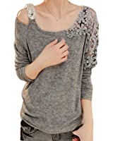 0ff0c807ba7 Rrimin Gray Fashion Womens Vintage Long Sleeve Casual Top Lace Shirt Blouse