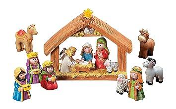 the best attitude e7e6d 7a54c Fun Express Mini Christmas Nativity Set Stable with Jesus Mary Joseph  Wisemen - 9 Pieces