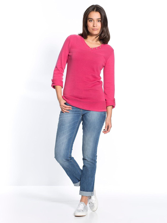 28a9315be3f36 Balsamik - Pull manches retroussables, longueur 60cm - femme Morpho H -  Taille   38 40 - Couleur   Framboise  Amazon.fr  Vêtements et accessoires