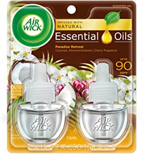 Air Wick plug in Scented Oil 2 Refills, Paradise Retreat , (2x0.67oz), Essential Oils, Air Freshener