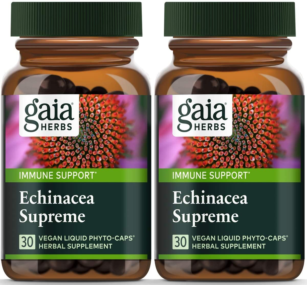 Gaia Herbs Echinacea Supreme, Vegan Liquid Capsules, 30 Count Pack of 2 – Fast-Acting Immune Support, Immune-Boosting Organic Whole Plant Echinacea