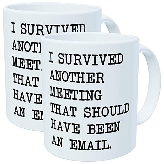 Review Pack of 2 - I survived another meeting that should have been an email - 11OZ ceramic coffee mugs - Best funny and inspirational gift