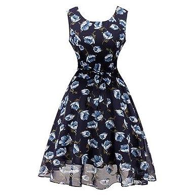 Summer Round Neck Women Chiffon Sundress A Line Office Dress Female Vestidos