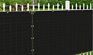 Patio Paradise 5' x 12' Black Fence Privacy Screen, Commercial Outdoor Backyard Shade Windscreen Mesh Fabric with Brass Gromment 88% Blockage- 3 Years Warranty (Customized