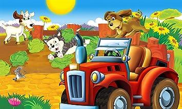 GzHQ Dibujos Animados Granja Coche Tema Animales Feliz ...