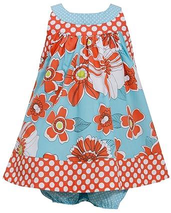 cdc41a1e995c Amazon.com  Bonnie Jean Baby-girls Orange Dot Floral Sundress  Clothing