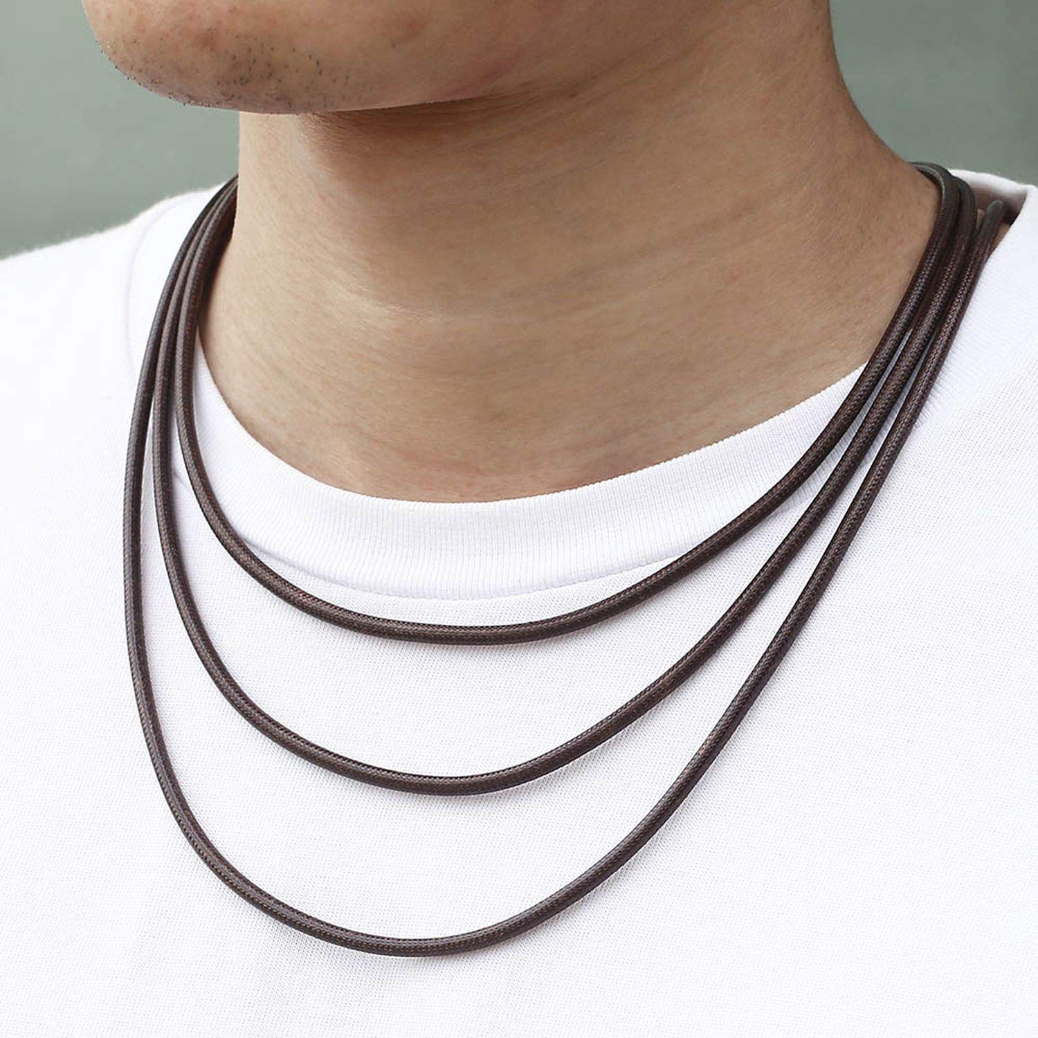 Youthern Brown Black Leather Necklaces for Men Stainless Steel Magnetic Clasp Mens Leather Necklace Jewelry Gifts 3mm