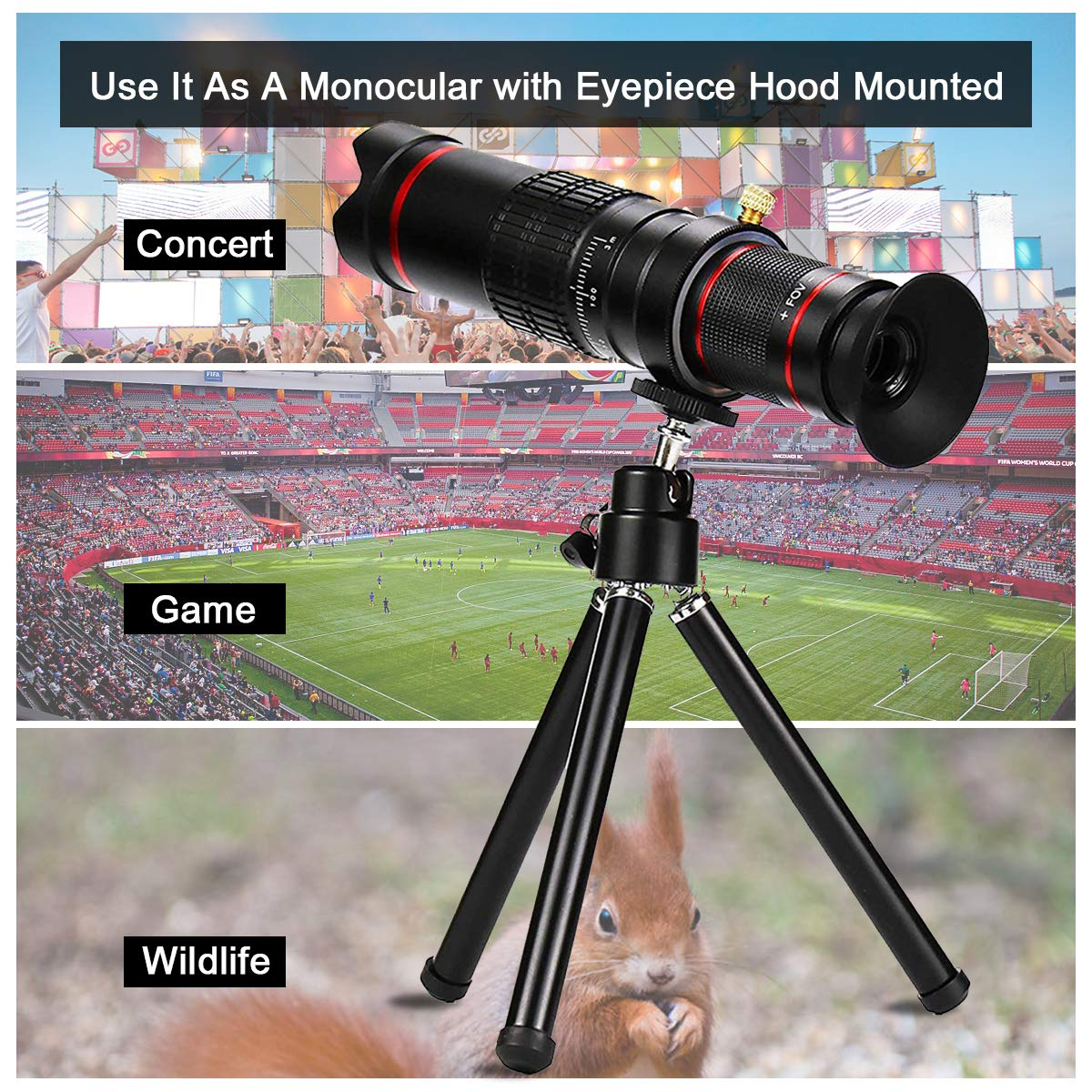Cell Phone Camera Lens,Phone Photography Kit-Flexible Phone Tripod +Remote Shutter +4 in 1 Lens Kit-High Power 22X Monocular Telephoto Lens, Fisheye, Macro & Wide Angle Lens for Smartphone (Black) by Bamoer (Image #4)