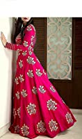 Lehenga choli Gown For Women Dress materials (Jay Ambe Fashion Present's Brand new Long gown For Women Pink Colour Lehenga Choli cum Gown With Dupatta Semi stitched salwar suit great Indian sale Product and Big Billion Day product Flash Sale cristmas sale)