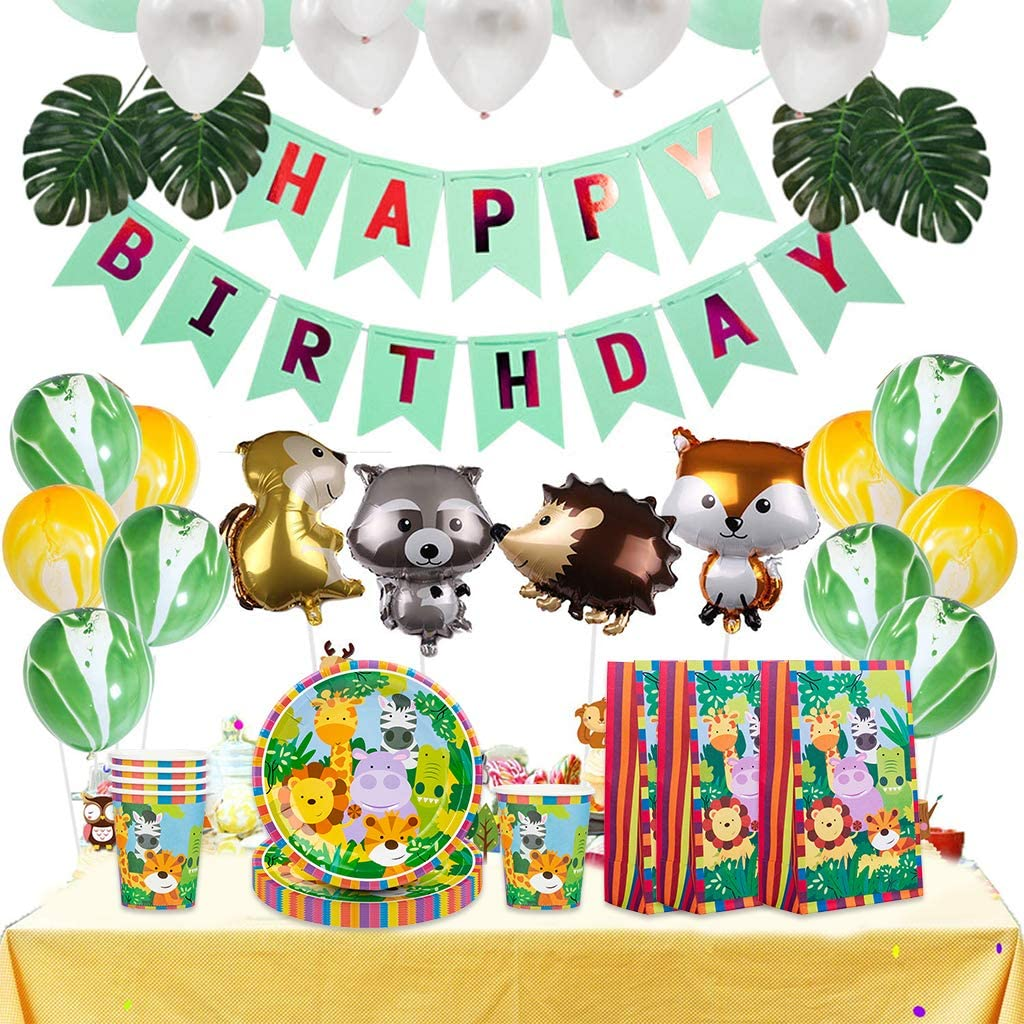 para la selva Juego de vajilla DreamJing de 68 piezas con dise/ño de animales para ni/ños y ni/ñas cumplea/ños decoraci/ón de fiesta para 16 ni/ños