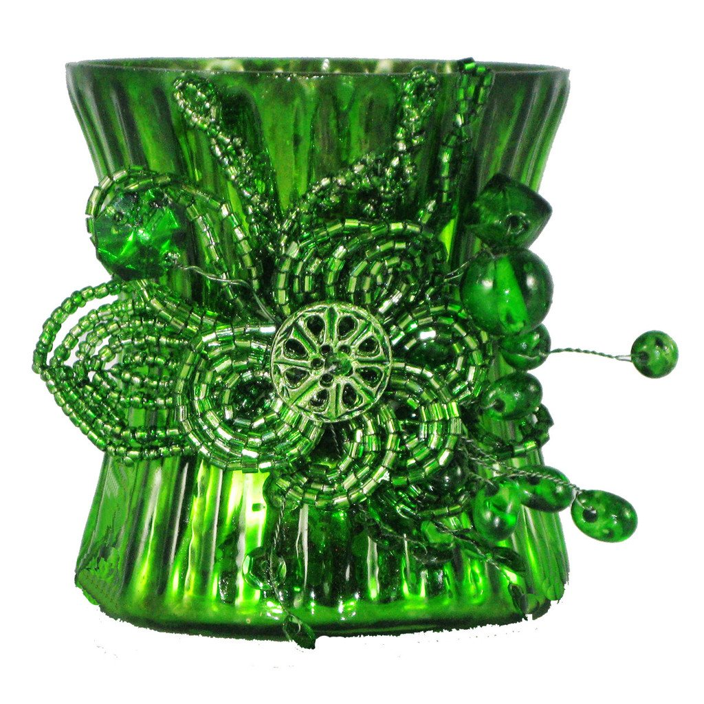 Emerald Green Mercury Glass Beaded Votive Candle Holders - Set of 2