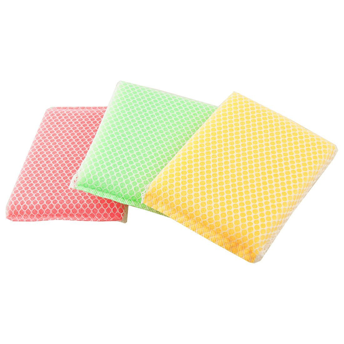 TOOGOO(R) Kitchen Dish Bowl Yellow Green red Scouring Sponge Cleaning Pads 3 Pcs