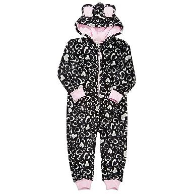 398fce03e21b Amazon.com  ONEZEE Girls Hooded Fluffy Fleece Jumpsuit Pajama (Ages 2-13)   Clothing