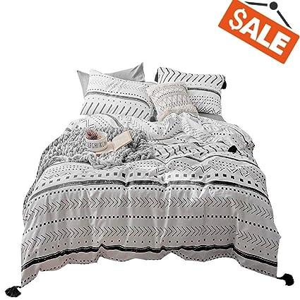 Vclife Cotton Queen Bedding Sets Duvet Cover Sets Modern Black White Arrow Herringbone Geometric Pattern Comforter Quilt Cover Queen 1 Duvet Cover 2