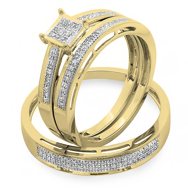 0.18 Carat (ctw) 18K Yellow Gold Round Diamond Ladies & Mens Bridal Engagement Ring Trio Set Band