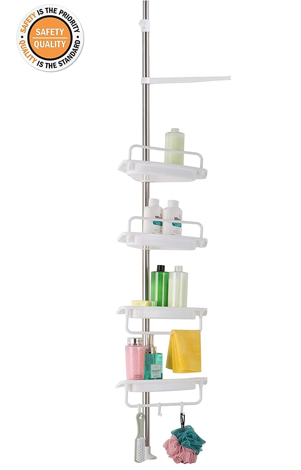 ALLZONE Constant Tension Corner Shower Caddy, Stainless Steel Pole, Rustproof, Strong and Sturdy, White 76020