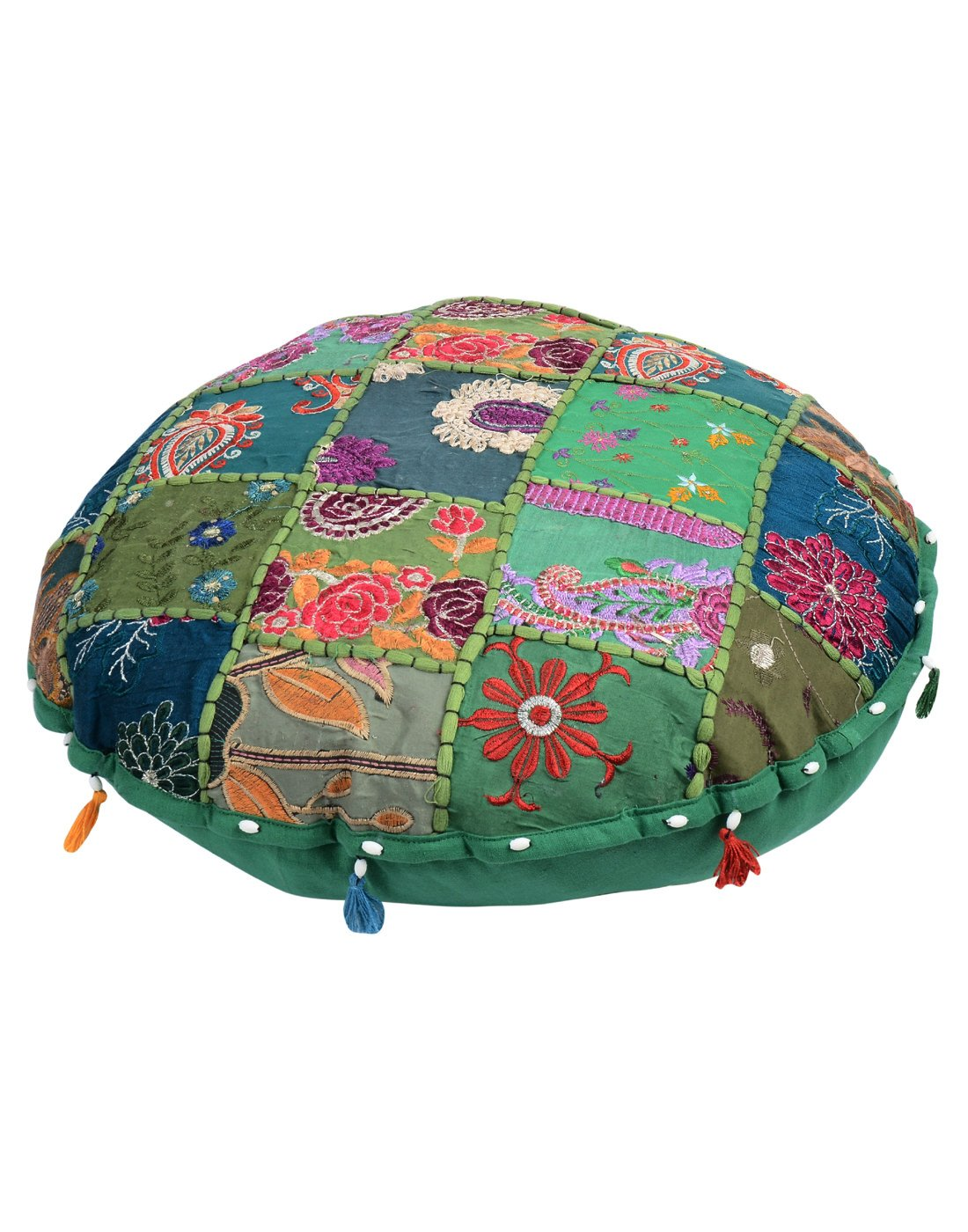 Rajrang Luxurious Green Bean Bag Cover Floral Patch Work Cotton Round Ottoman Cover OTM01364