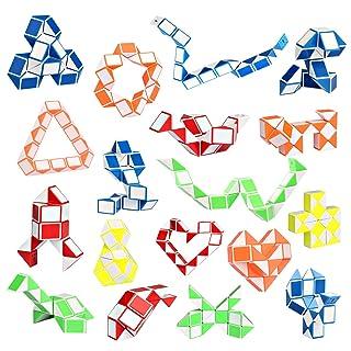 Ganowo 18 Pack Fidget Snake Cube Sensory Toys Mini Magic Twist Puzzle Party Favors for Kids Teens Birthday, Goodie Bags Fillers, Classroom Rewards, 24 Blocks