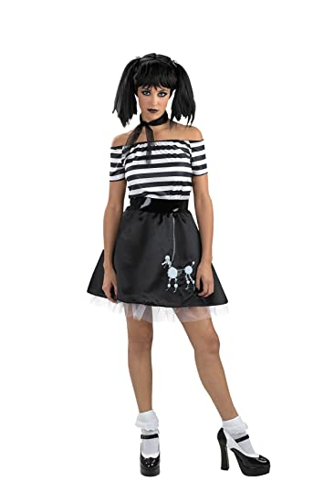 uhc boodle bones teen gothic 50s skeletal poodle skirt girls halloween costume